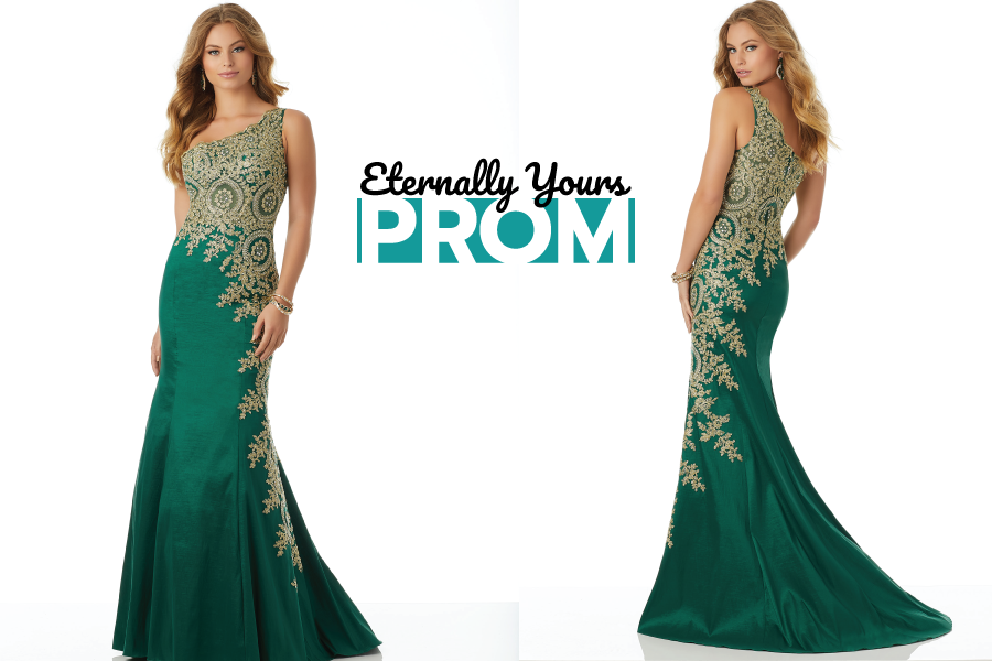 Morilee Gold & Green Evening Dress | Elegant Evening Gown Boutique ...