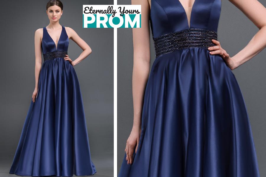 Gino Cerruti Blue Prom Dress Deep V Bodice Empire Waist Prom Dress